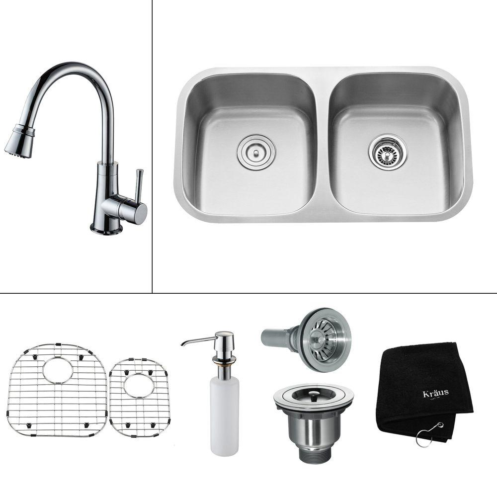 KRAUS All-in-One Undermount Stainless Steel 32.25x18x14.9 0-Hole Double Bowl Kitchen Sink with Chrome Accessory