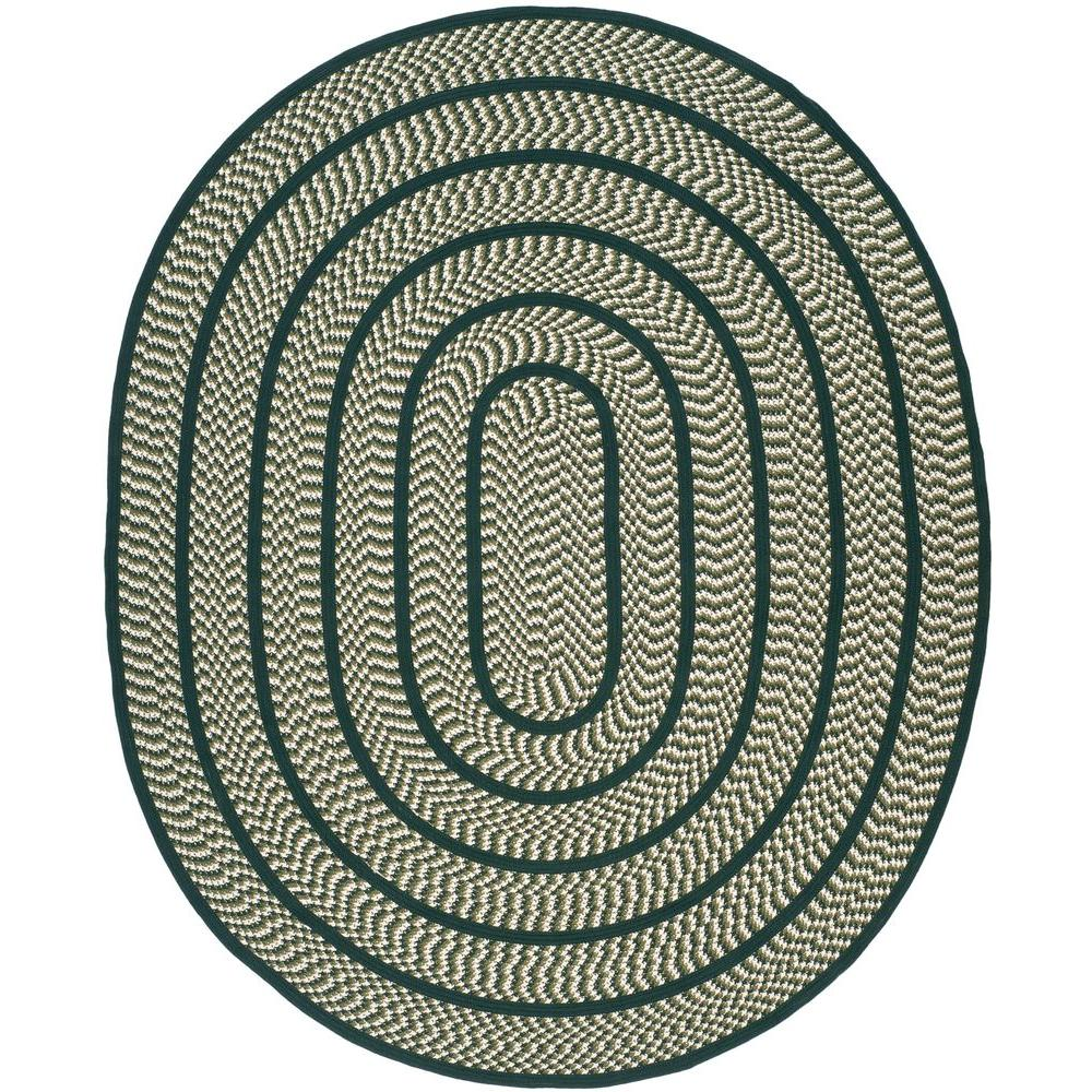 Braided Ivory/Dark Green 8 ft. x 10 ft. Oval Area Rug