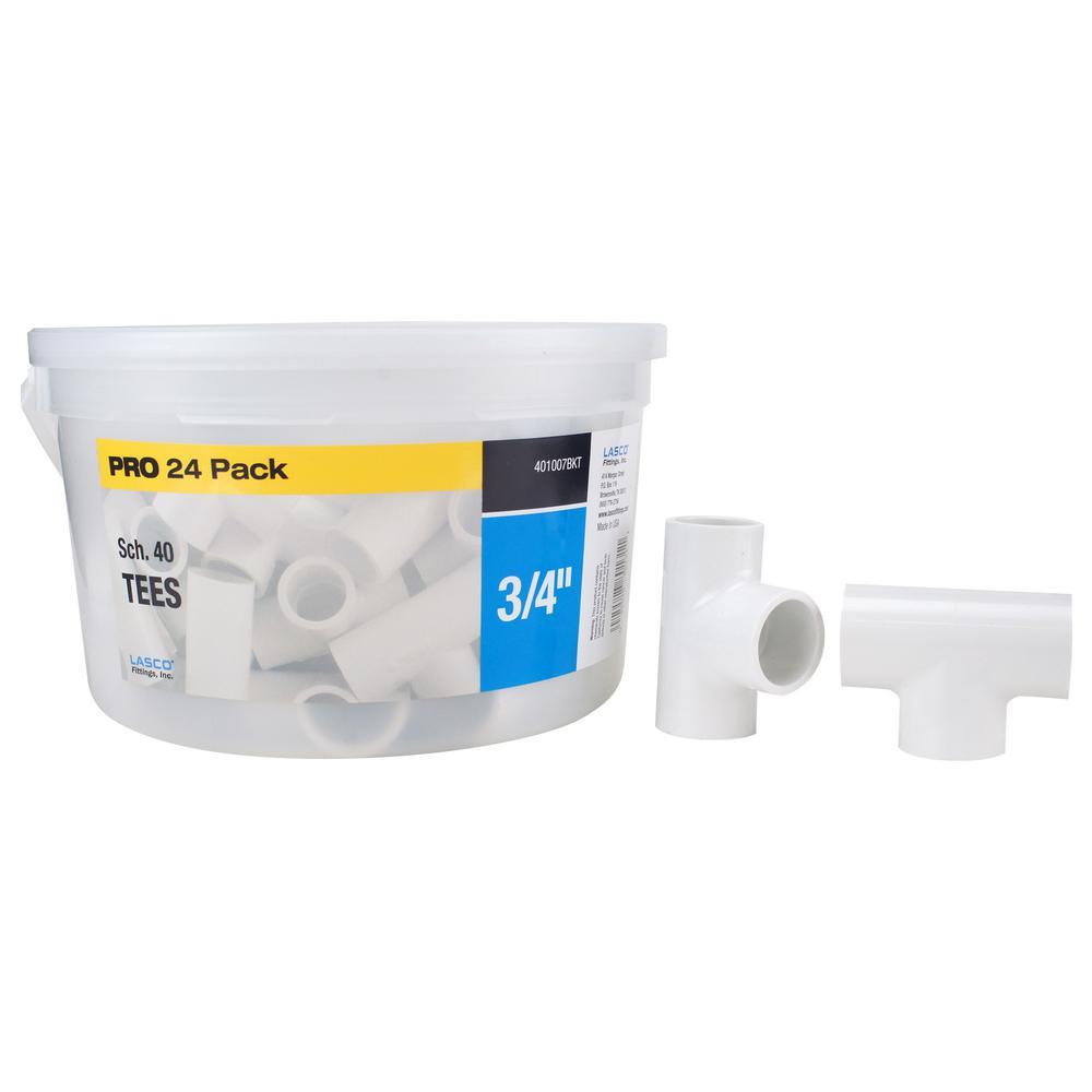 3/4 in. x 3/4 in x 3/4 in Sch. 40 PVC Tee Fitting (24-Pack)