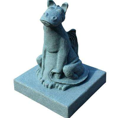 21 in. Garden Smiling Dragon Statue in Jade Green