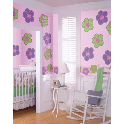 13 in. x 13 in. Purple Poppies Flowers Wall Decal