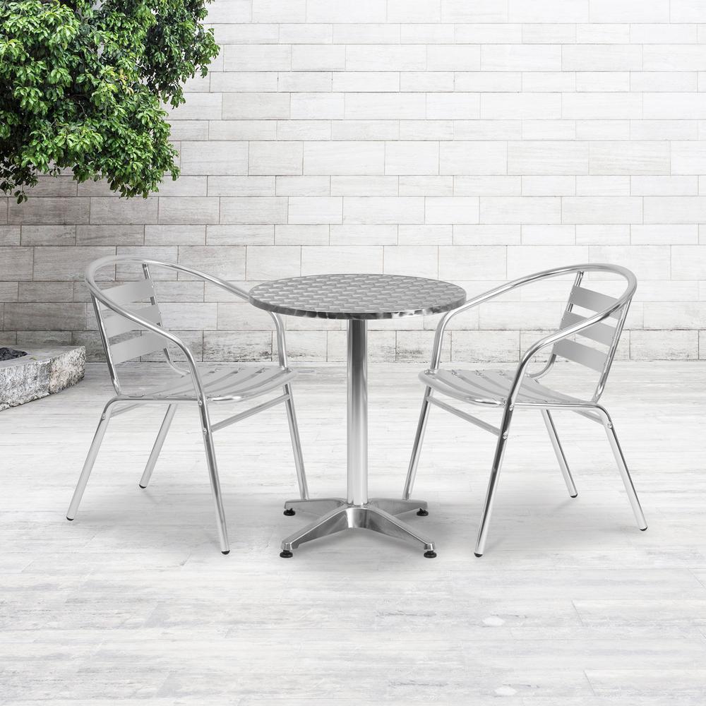 Metal Outdoor Dining Chair in Aluminum