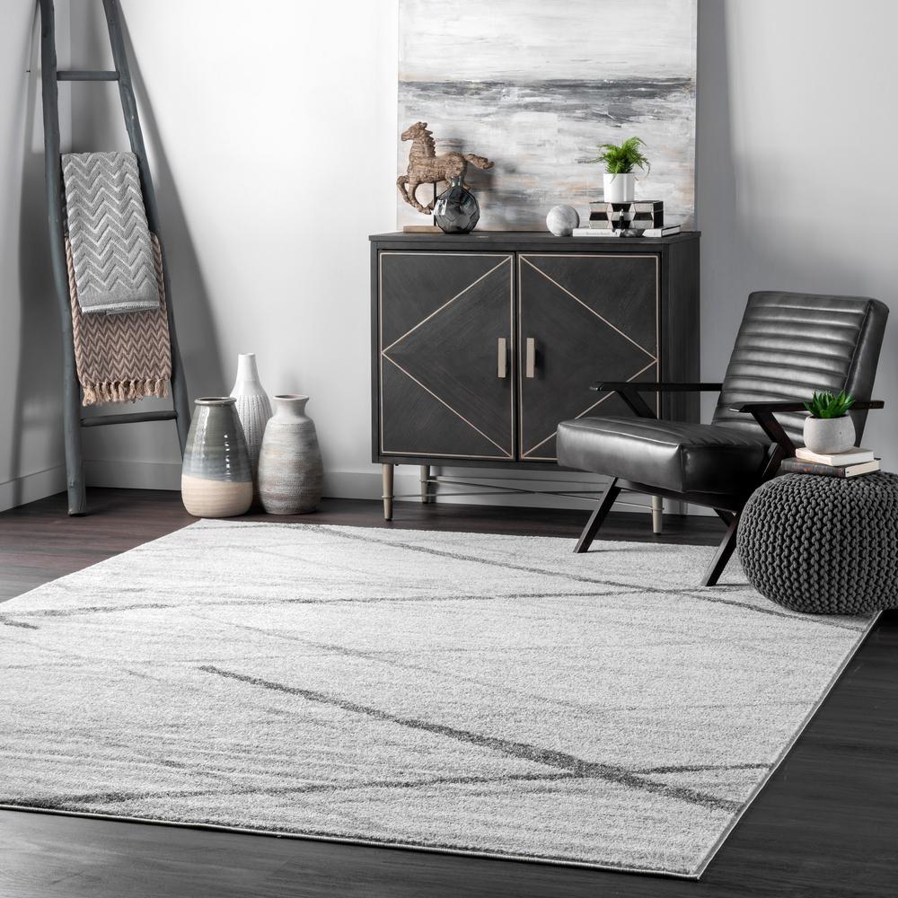 Thigpen Contemporary Stripes Gray 8 ft. Square Rug