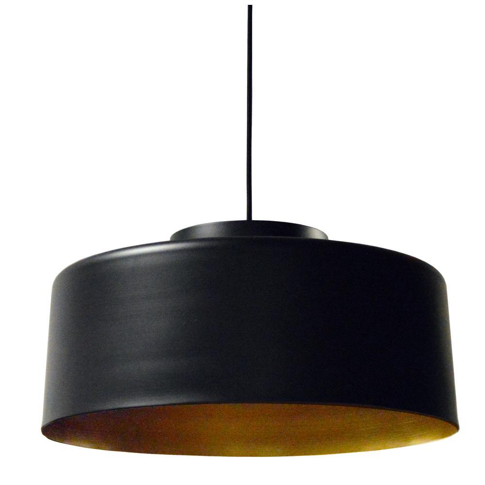 Kup 1-Light Black/Gold Pendant with Metal Shade