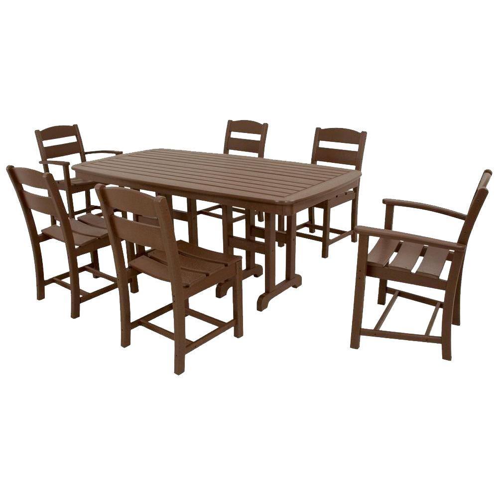 Classics Mahogany 7-Piece Plastic Outdoor Patio Dining Set
