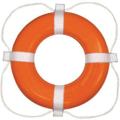 24 in. Vinyl Coated Foam Life Ring, Orange with White Rope
