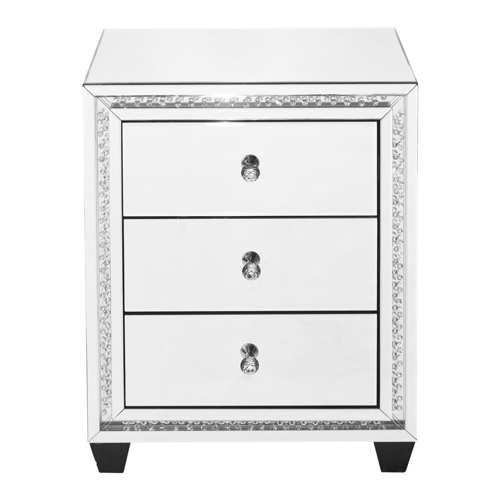 Clear Finish Crystal Bedside Table With 3 Drawers Square Mirror