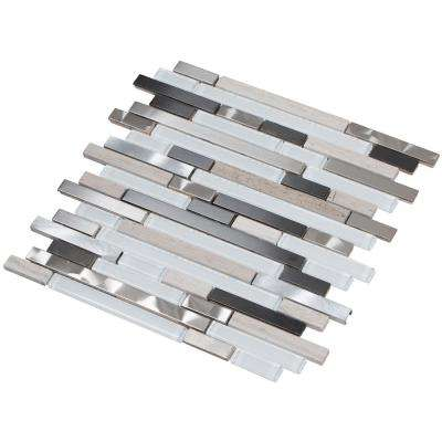 Ariya/03, Interlocking, 3 in. x 12 in. x 8 mm Metal/Glass/Stone Mesh-Mounted Mosaic Tile Sample