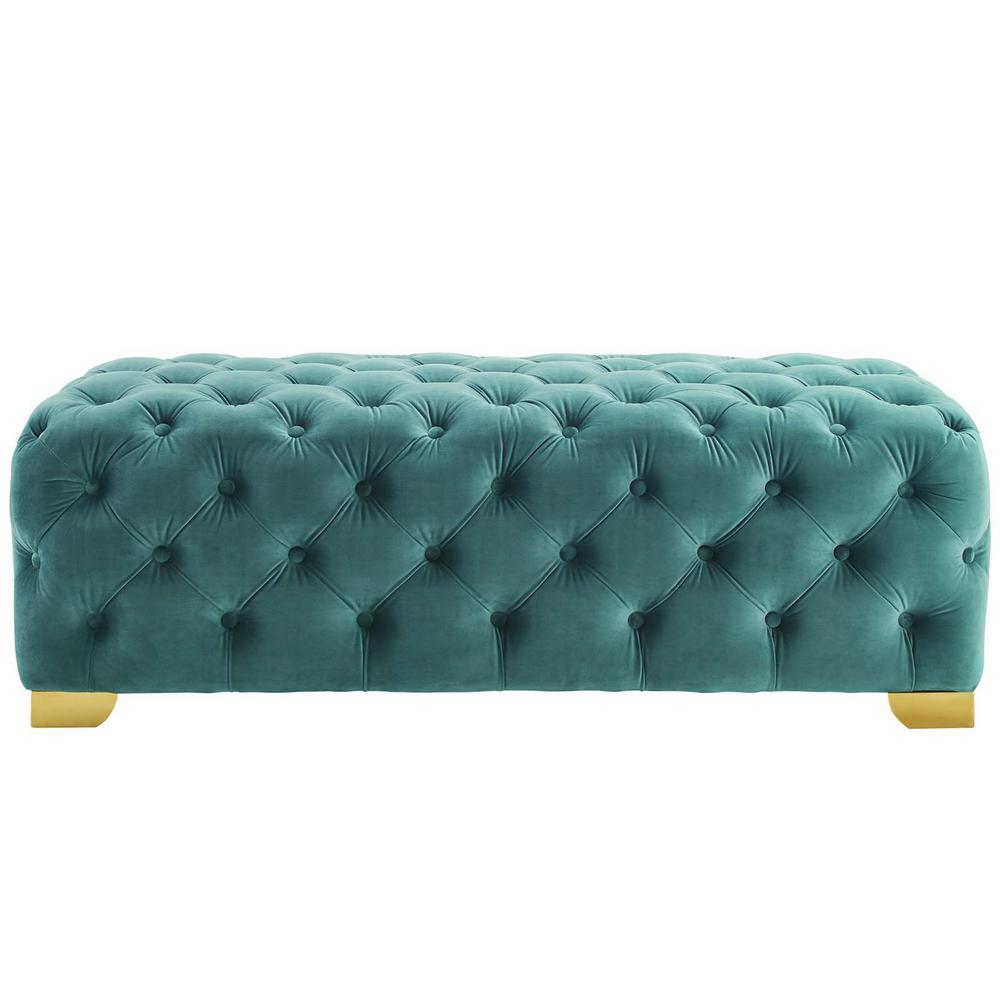 MODWAY Sensible Button Tufted Performance Velvet Bench in Teal EEI-3411-TEA
