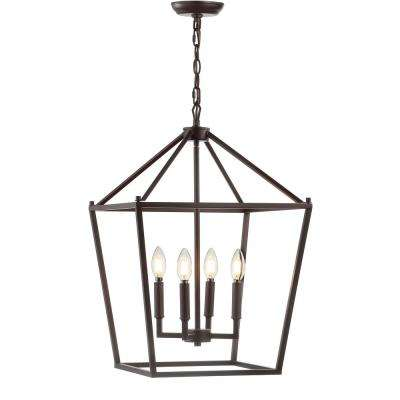 Pagoda 16 in. 4-Bulb Oil Rubbed Bronze Lantern Metal LED Pendant