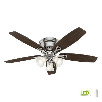 Oakhurst 52 in. LED Indoor Low Profile Brushed Nickel Ceiling Fan with Light Kit with Remote Control Bundle Fan
