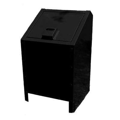34 Gal. Metal Animal Proof Trash Can in Black