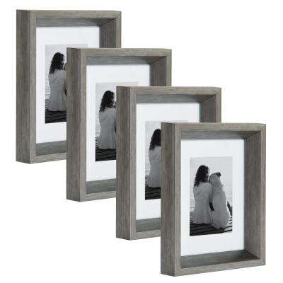 Calter 5 in. x 7 in. Matted to 3.5 in. x 5 in. Silver Picture Frame (Set of 4)