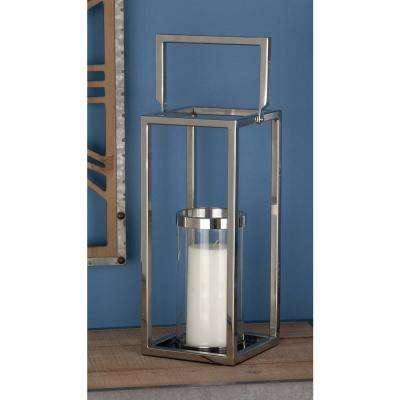18 in. Silver Stainless Steel and Clear Glass Lantern Candle Holder