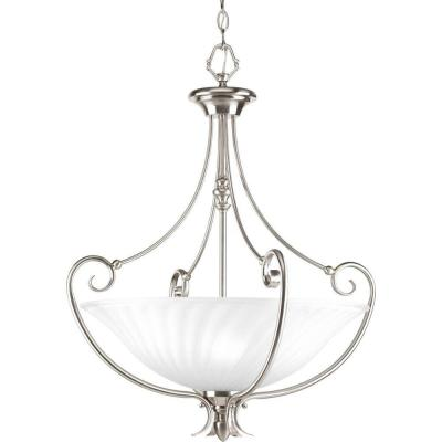 Kensington Collection 3-Light Brushed Nickel Foyer Pendant with Swirled Etched Glass