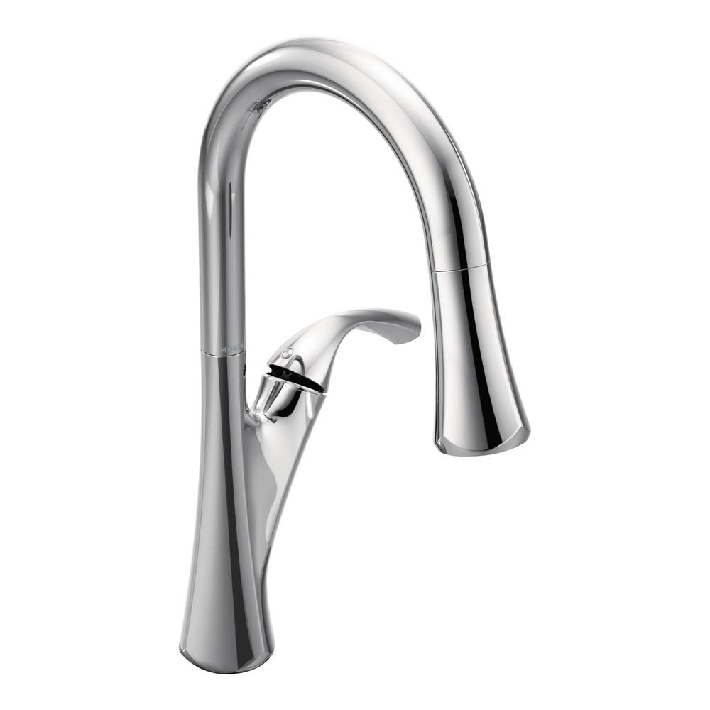 Notch Single-Handle Pull-Down Sprayer Kitchen Faucet with Reflex in Chrome