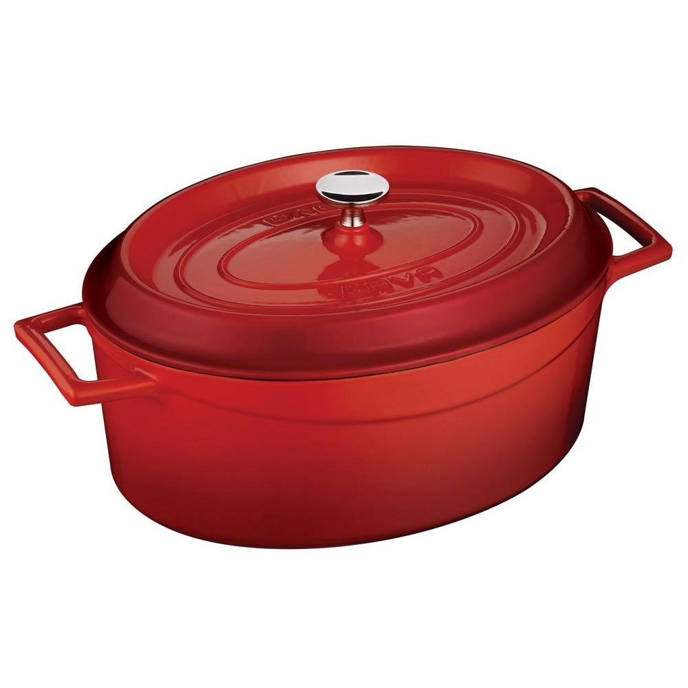 Lava Signature 4-1/4 Qt. Enameled Cast Iron Oval Dutch Oven in Cayenne Red