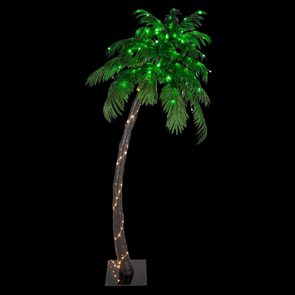 Wintergreen Lighting 6 Ft Pre Lit Curved Artificial Palm Tree With 128 Led Lights