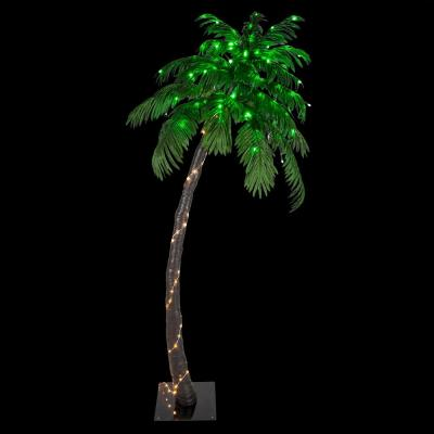 6 ft. Pre-Lit Curved Artificial Palm Tree with 128 LED Lights