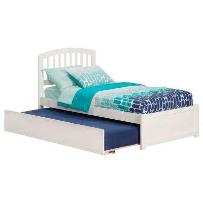 Richmond White Twin Platform Bed with Flat Panel Foot Board and Twin Size Urban Trundle Bed