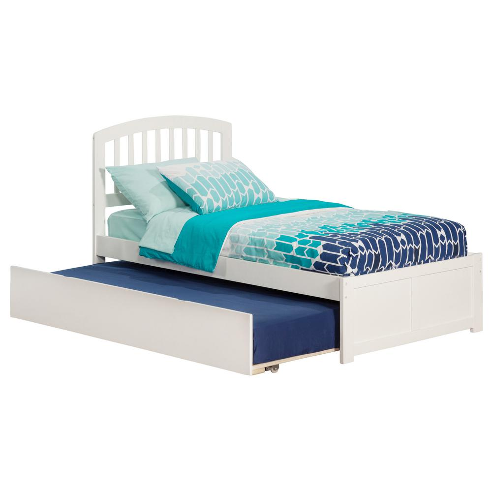 Richmond White Twin Platform Bed with Flat Panel Foot Board and