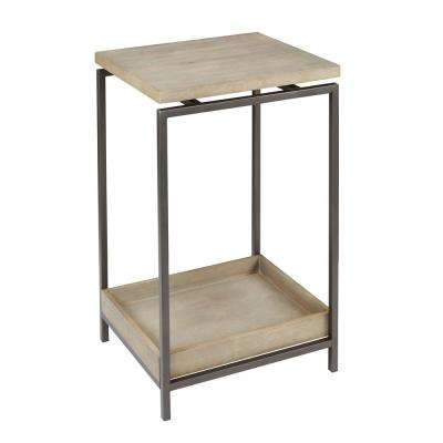 Brooks Gray and Brown Floating Wood Top End Table