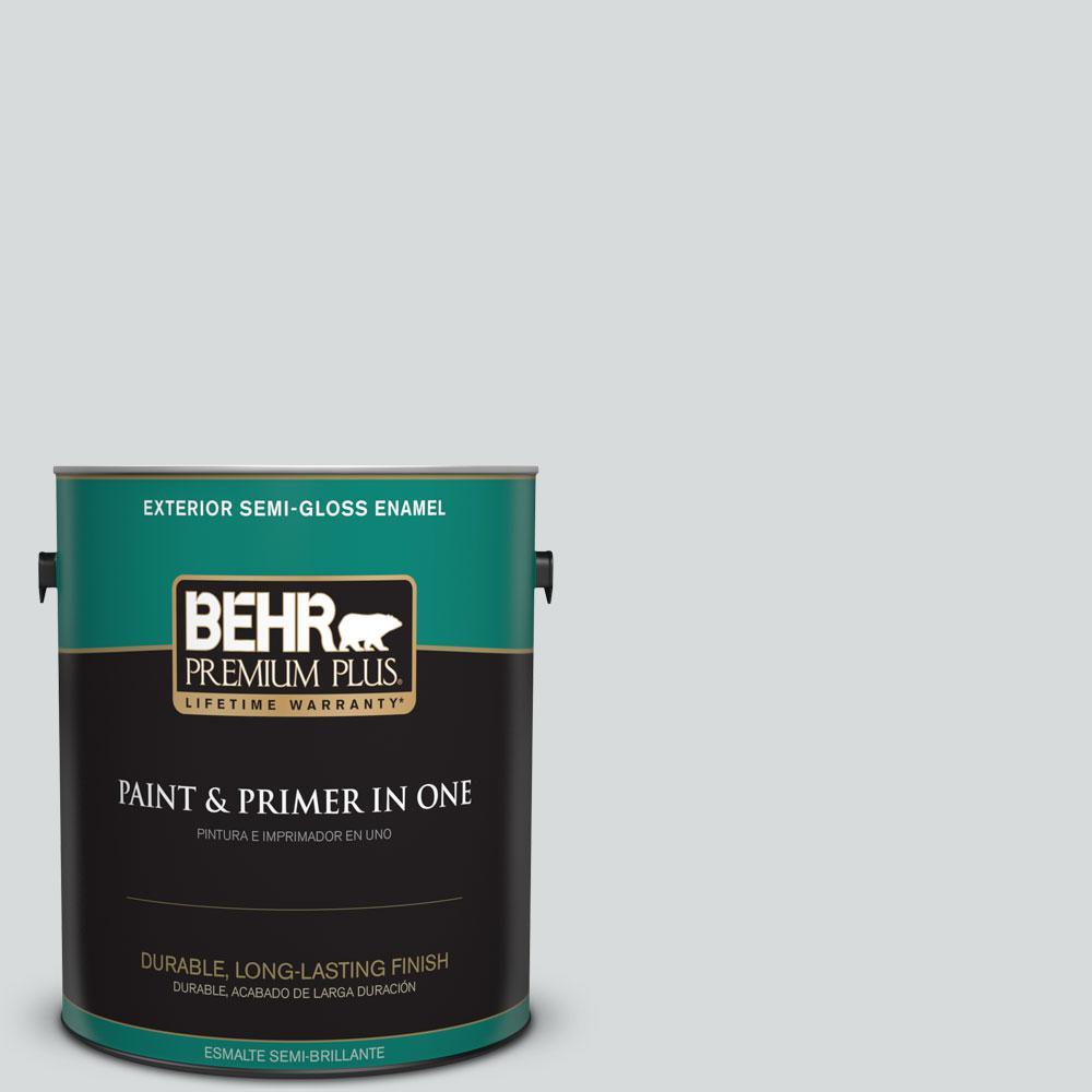 BEHR Premium Plus 1-gal. #PPL-65 Silver Charm Semi-Gloss Enamel Exterior Paint
