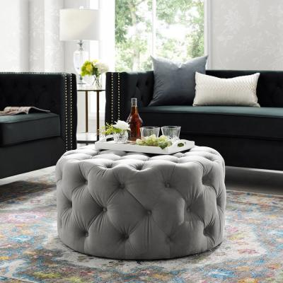 Drita Cocktail Table Ottoman Grey Velvet Tufted Allover Round Caster Leg