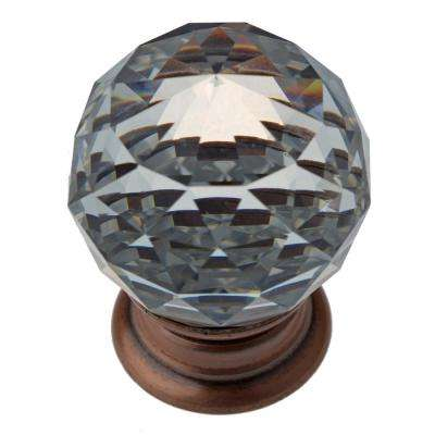 1-1/4 in. Clear Small K9 Crystal with Oil Rubbed Bronze Base Cabinet Knob (10-Pack)