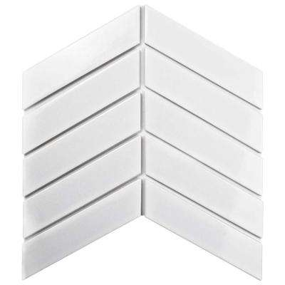 Metro Soho Chevron Glossy White 1-3/4 in. x 7 in. Porcelain Floor and Wall Tile (1 sq. ft. / pack)