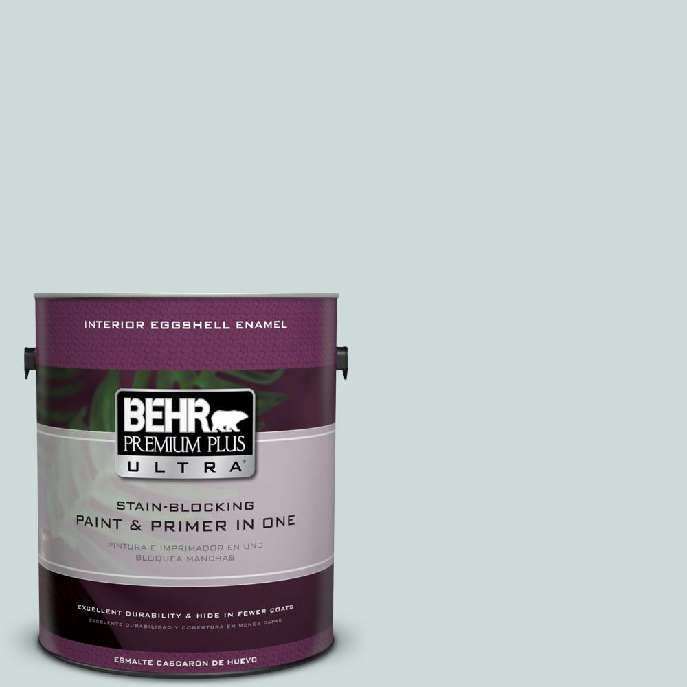 1 gal. #PPL-46 Blue Cypress Eggshell Enamel Interior Paint and Primer
