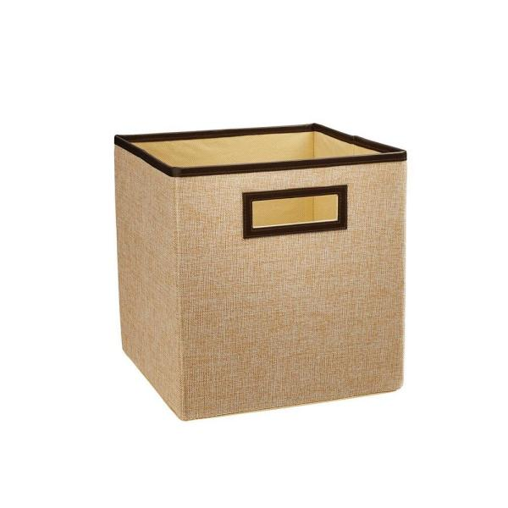 11 in. D x 11 in. H x 11 in. W Crème Brulee Fabric Cube Storage Bin