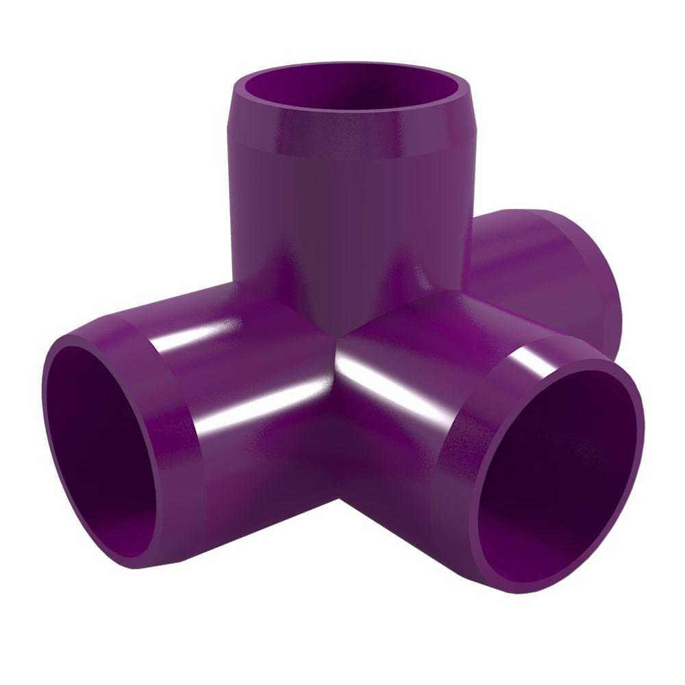 1-1/4 in. Furniture Grade PVC 4-Way Tee in Purple (4-Pack)