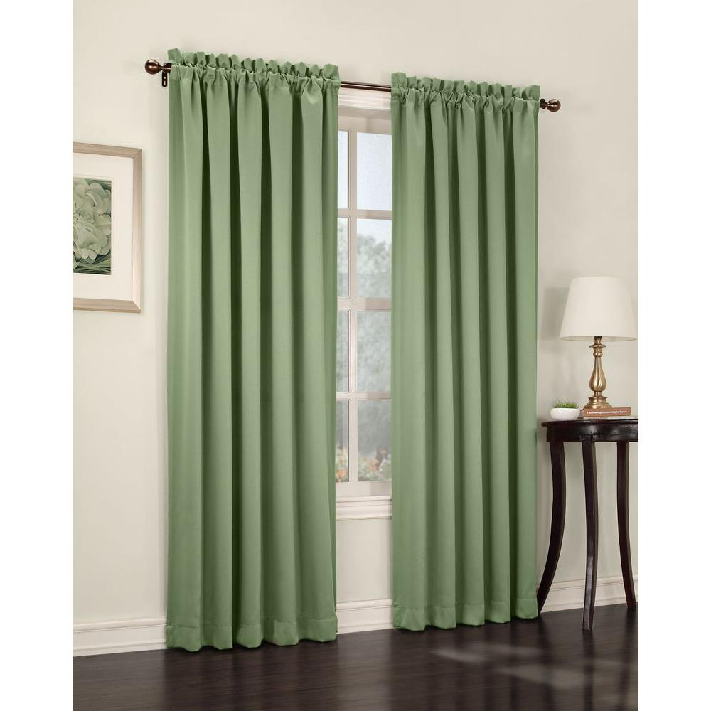 Semi Opaque Sage Green Gregory Room Darkening Pole Top Curtain Panel 54 In W X 84 L