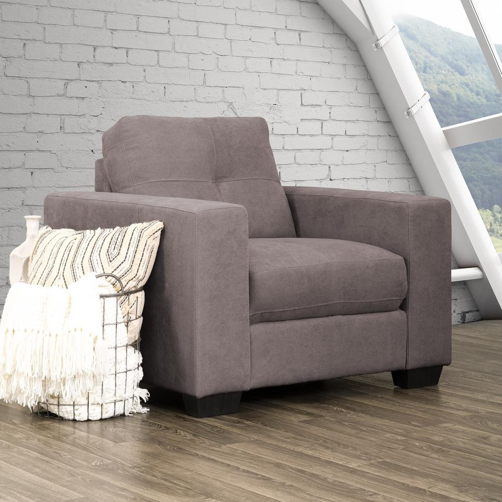 Chenille Armchair: CorLiving Club Tufted Grey Chenille Fabric Armchair-LZY