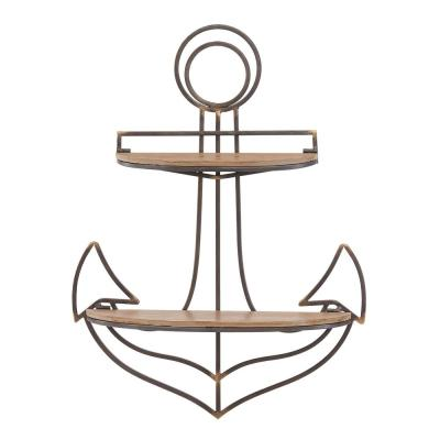 Anchor Wood and Metal Floating Wall Shelf