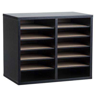 Wood Adjustable 12 Compartment Literature Organizer, Black