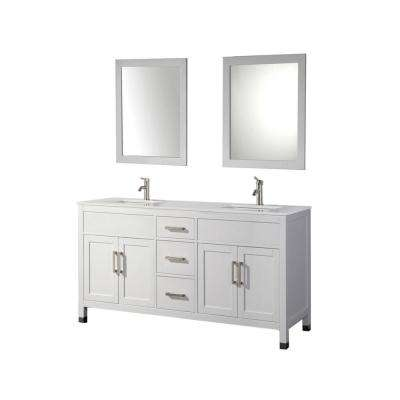 Ricca 84 in. W x 22 in. D x 36 in. H Vanity in White with Microstone Vanity Top in White with White Basins and Mirrors