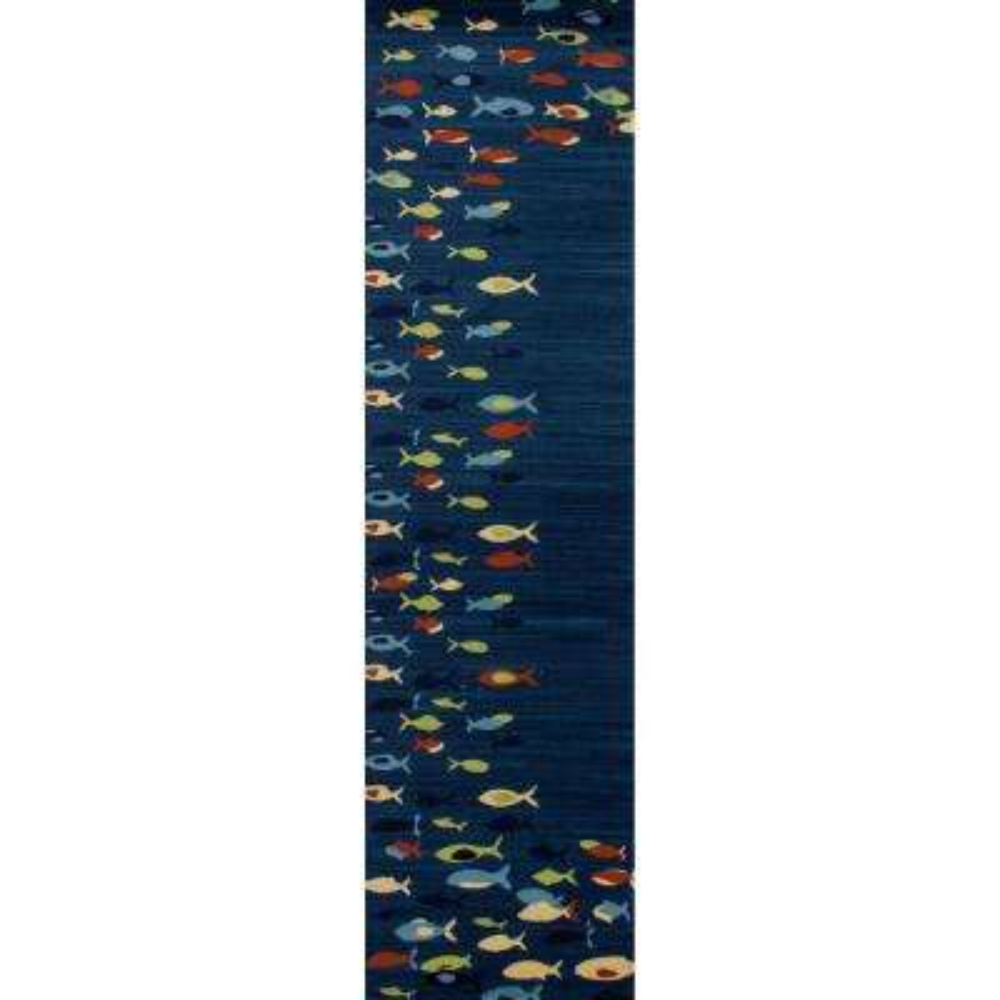 Seaport Fish School Navy blue 2 ft. x 8 ft. Runner Rug
