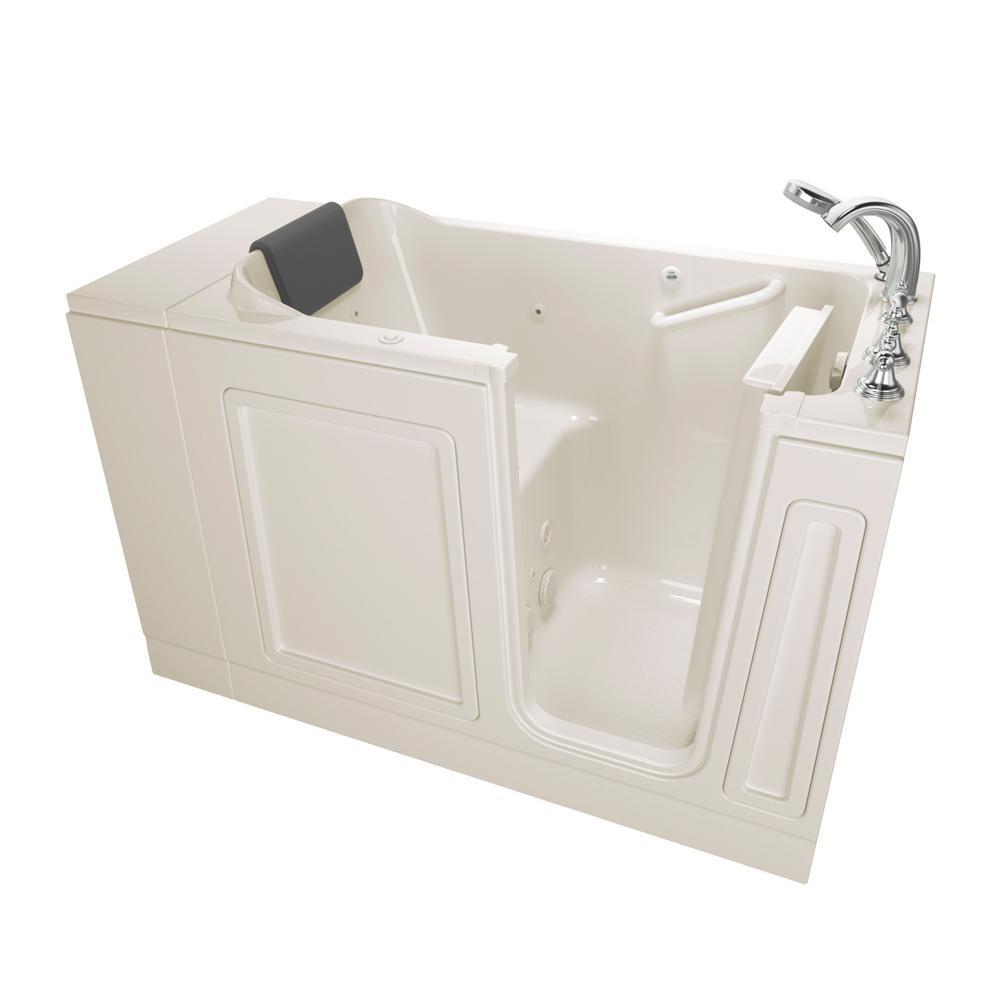 American Standard Acrylic Luxury 48 in. Right Hand Walk-In Whirlpool Bathtub in Linen
