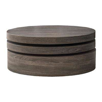 Timothy Black Oval Modernesque Rotatable Coffee Table