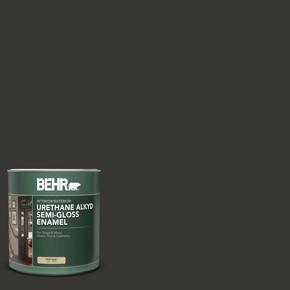 1 qt. #AE-54 Molten Black Semi-Gloss Enamel Urethane Alkyd Interior/Exterior Paint