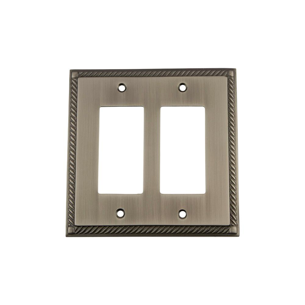 Rope Switch Plate with Double Rocker in Antique Pewter
