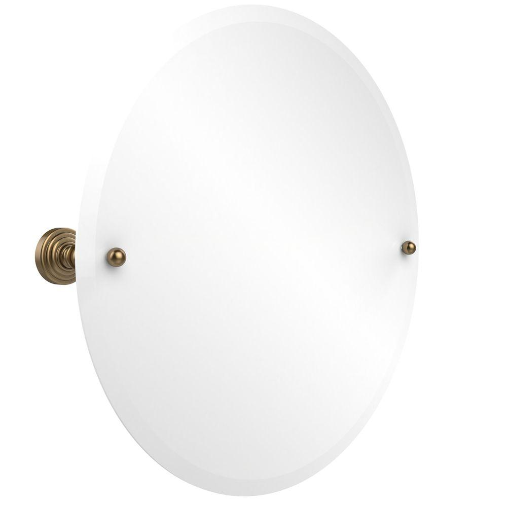 Allied Brass Waverly Place Collection 22 in. x 22 in. Frameless Round Single Tilt Mirror with Beveled Edge in Brushed Bronze