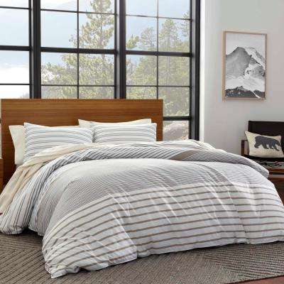 3-Piece Beige Cooper Stripe King Duvet Cover Set