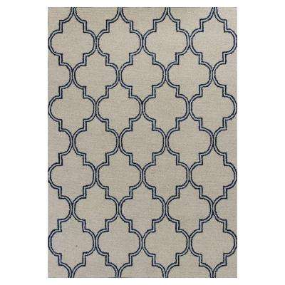 Perfectly Mosaic Ivory/Navy 8 ft. x 10 ft. Area Rug