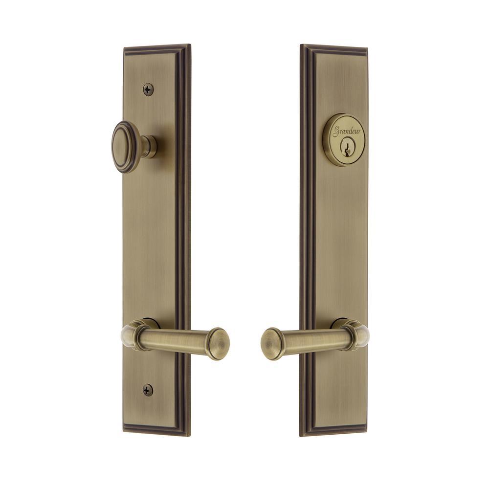 Carre' Tall Plate 2-3/8 in. Backset Vintage Brass Door Handleset with Georgetown Door Lever