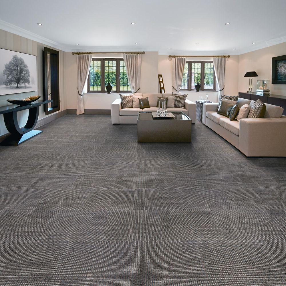 EuroTile Park Avenue Steel Loop 19.7 in. x 19.7 in. Carpet Tile (20  Piece/Case)