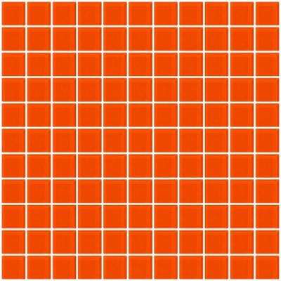 12 in. x 12 in. x 4 mm Tile'ESQUE Bright Orange Glass Mesh-Mounted Mosaic Tile