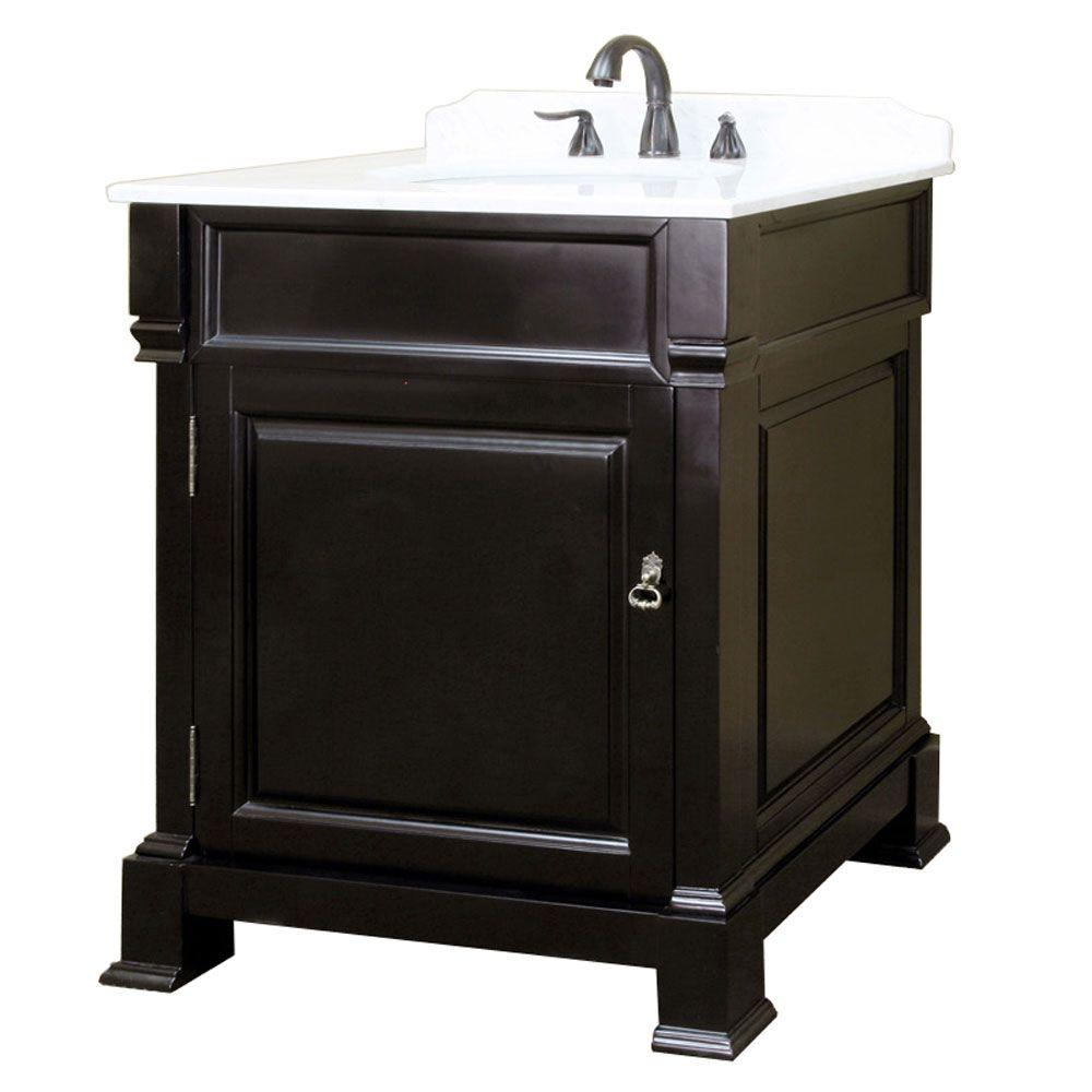 Bellaterra Home Olivia 30 in. W x 35-1/2 in. H Single Vanity in Espresso with Marble Vanity Top in White